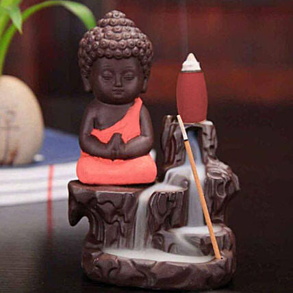 Monk Buddha Incense Burner- Imperial Red: Funny Gifts