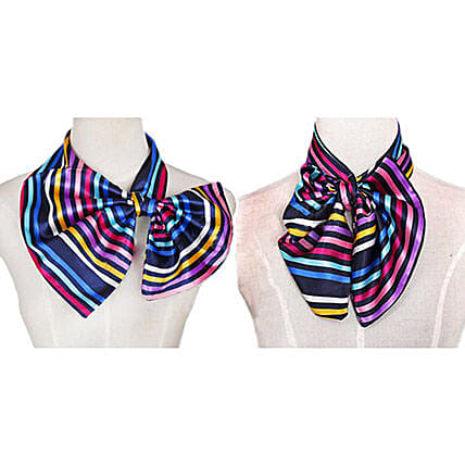 Multicolor Stripes Imitation Silk Scarf: Scarves And Stoles