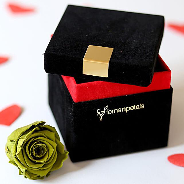 Olive- Emerald Green Forever Rose in Velvet Box: Premium Flowers