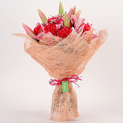 Oriental Lilies & Carnations Mixed Bouquet: Gifts to India