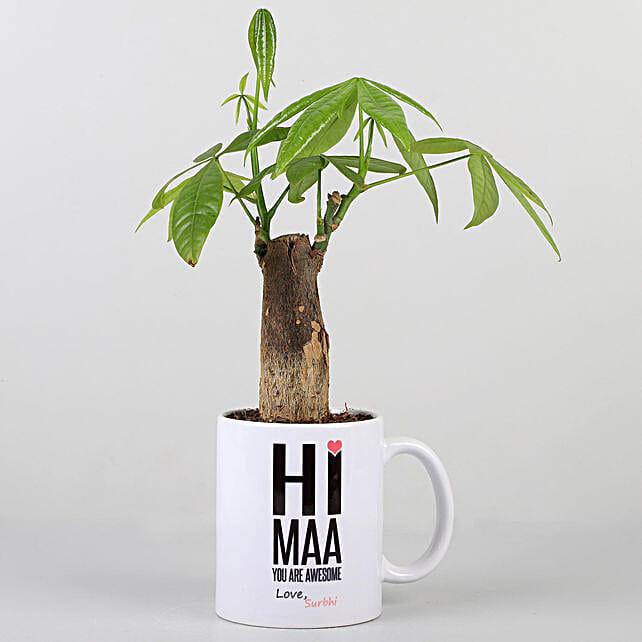Pachira Plant In Personalised Hi Maa Mug:
