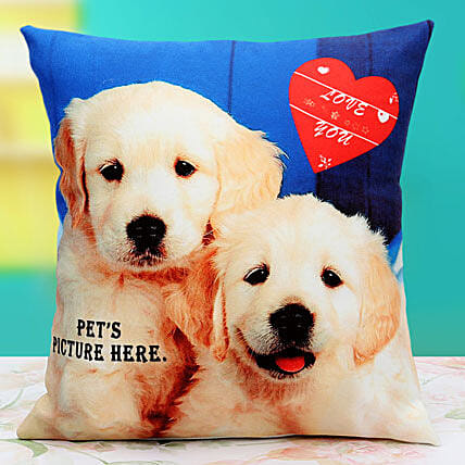 Pat the Pet Personalized Cushion: Personalised Gifts Belgaum