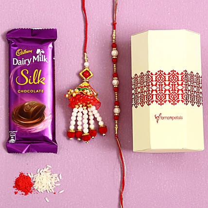 Pearl & Lumba Rakhi Set With Dairy Milk Silk: Rakhi Bestsellers For Bhaiya Bhabhi