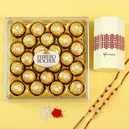 Pearl Rakhi Set & Ferrero Rocher Chocolates