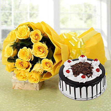 Yellow Roses Bouquet & Black Forest Cake: Gifts Delivery In Manishpuri