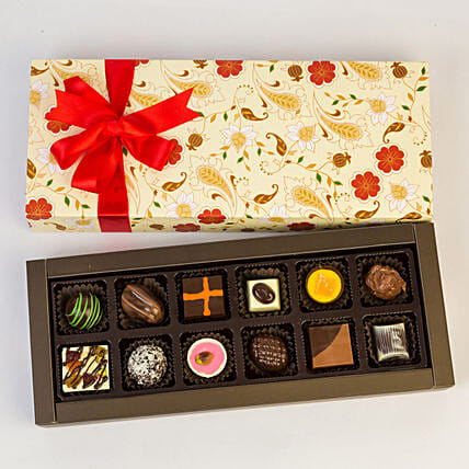 Permium Floral Box Of Chocolates- 12 Pcs: Send Friendship Day Chocolates