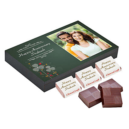 Personalised Anniversary Chocolate Box- Green: Personalized Chocolate Gifts