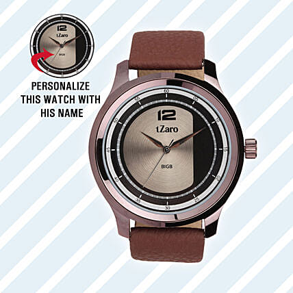 Personalised Brown Watch For Him: Watches
