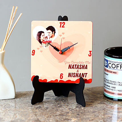Personalised Couple Name MDF Table Clock: Personalised Clocks
