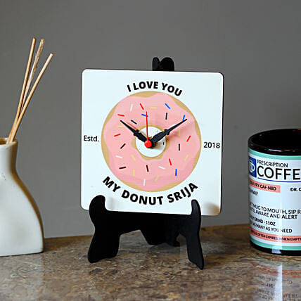 Personalised Donut MDF Table Clock: