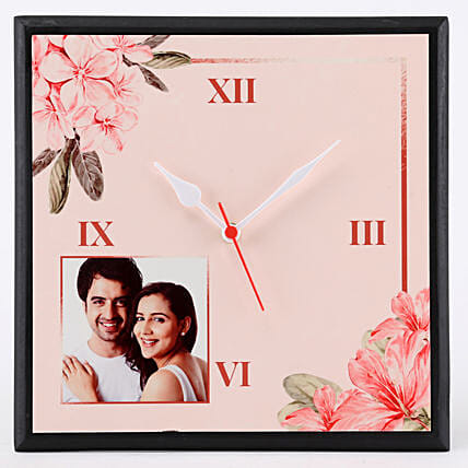 Personalised Floral Print Wall Clock: