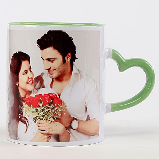 Personalised Green Heart Shaped Handle Mug: Personalised Mugs