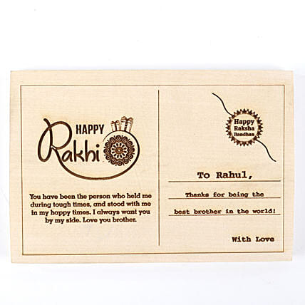 Personalised Happy Rakhi Postcard: Personalised Engraved