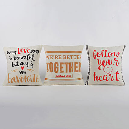 Personalised Love Message Cushions Set Of 3: