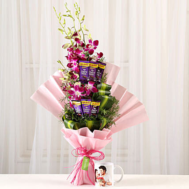 Personalised Mug & Purple Orchids Posy: