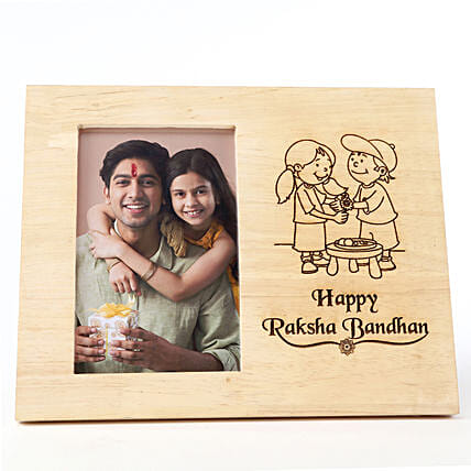 Personalised Raksha Bandhan Wooden Frame: Personalised Engraved