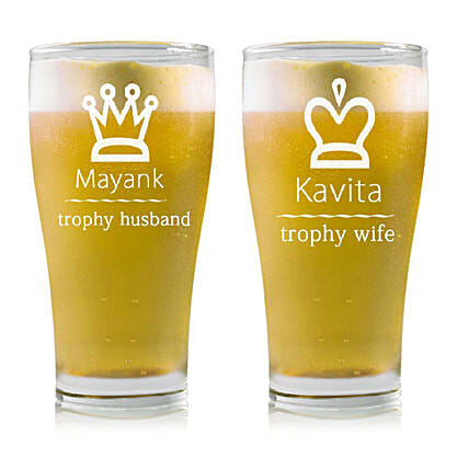 Personalised Set Of 2 Beer Glasses 2215: