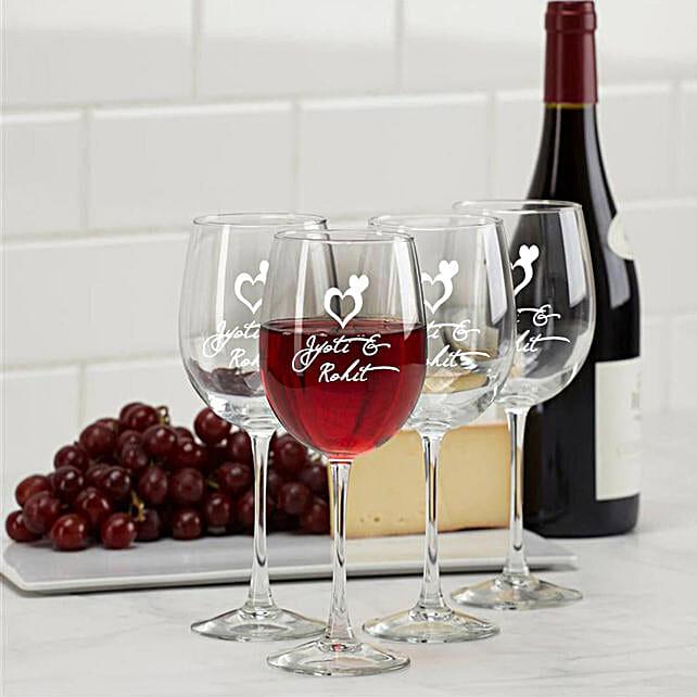 Personalised Set Of 2 Wine Glasses 1021: Personalised Wine glasses