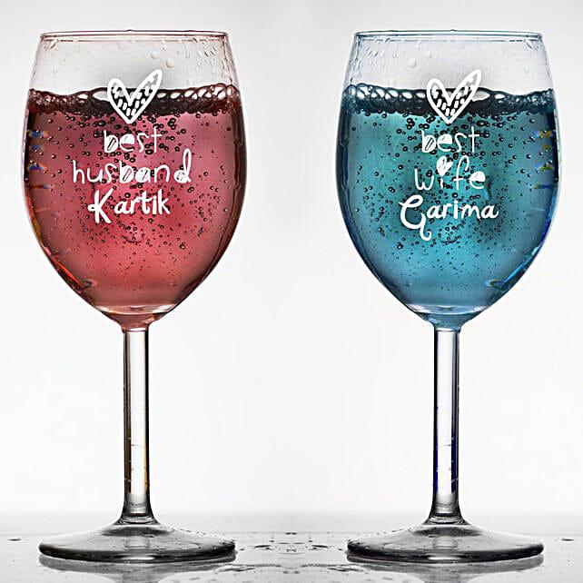 Personalised Set Of 2 Wine Glasses 1023: Personalised Wine glasses