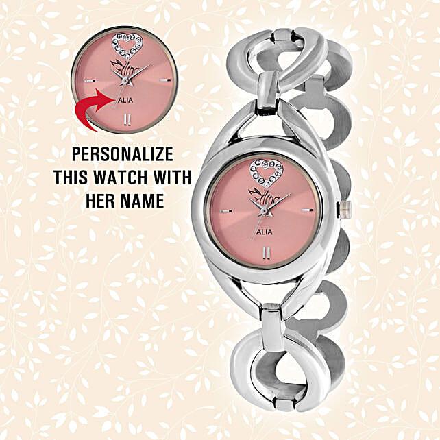 Personalised Steel Silver & Pink Watch: