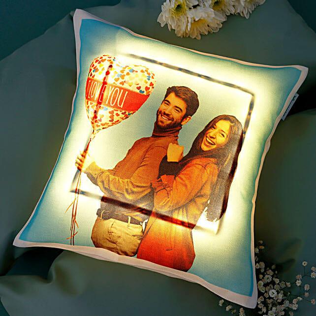 Personalised V-Day LED Cushion: Buy Cushions