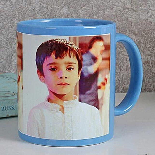 Personalized Blue Ceramic Mug: Custom Photo Coffee Mugs