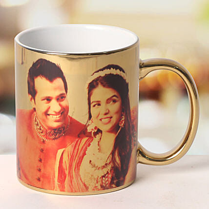 Personalized Ceramic Golden Mug: Send Gifts to Kalol