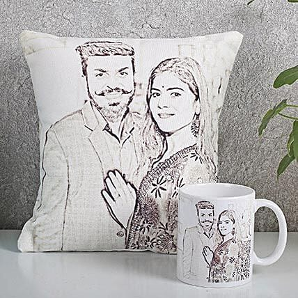 Personalized Couple Cushion N Mug Combo: Send Caricatures