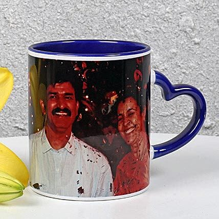 Personalized Ink Blue Ceramic Mug: Custom Photo Coffee Mugs