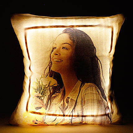 Personalized LED Cushion Yellow: Gifts to India
