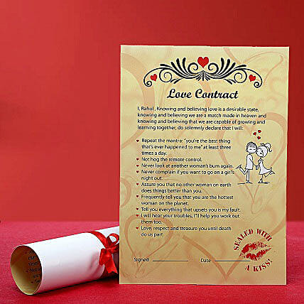 Personalized Love Contract for Her: Unique Valentine Gifts
