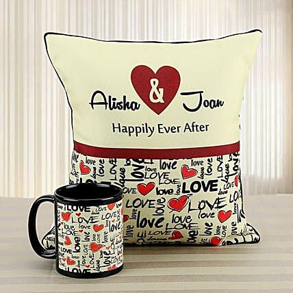 Personalized Love Of My Life: Cushions and Mugs Combo