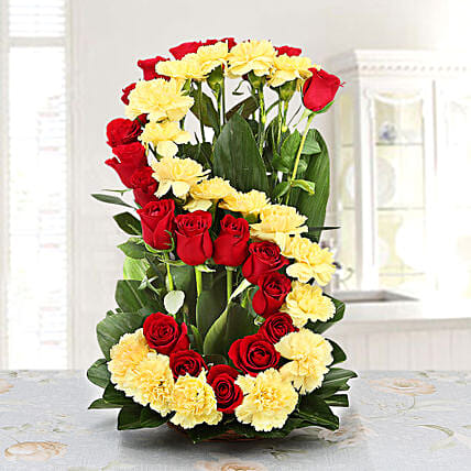 Personalised Floral Arrangement: Send Personalised Gifts to Belgaum