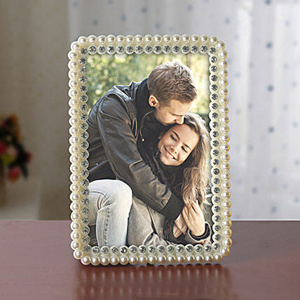 Personalized White Pearls Photo Frame: Friendship Day Photo Frames