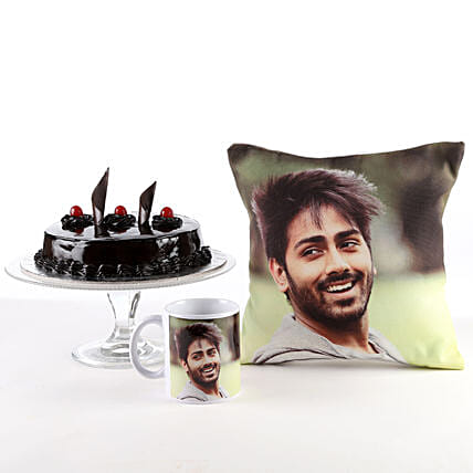 Photo Cushion, Mug & Cake Combo For Him: Personalised Gifts Combos