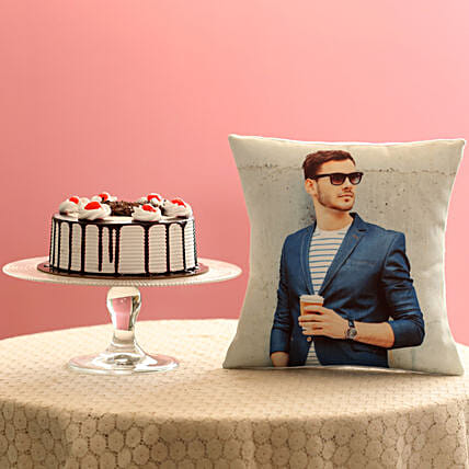 Picture Cushion & Black Forest Cake Combo: Cakes N Personalised Gifts