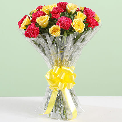 Pink Carnations & Yellow Roses Bouquet: Carnations