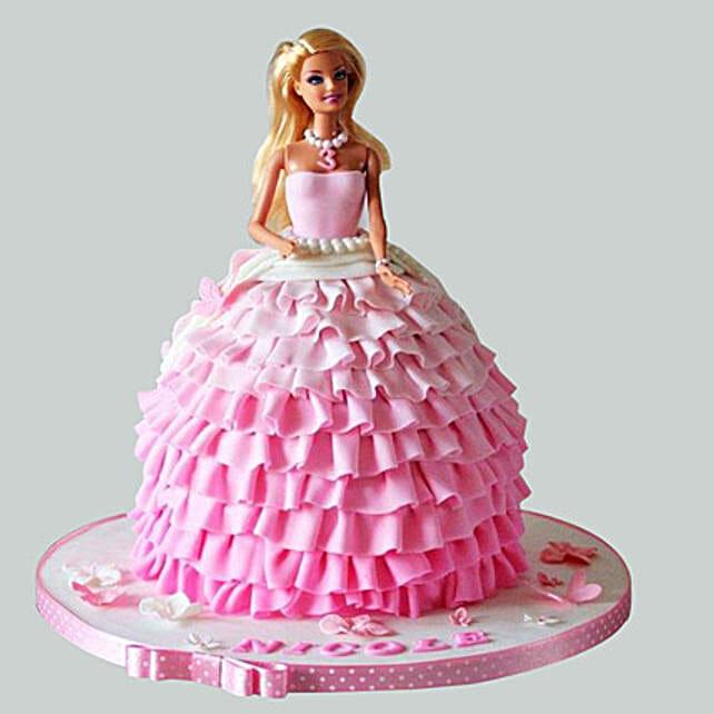 Pink Dress Barbie Cake: