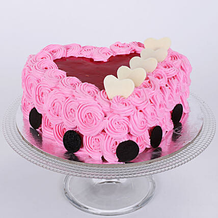 Pink Floral Heart Cake: Rose Cakes
