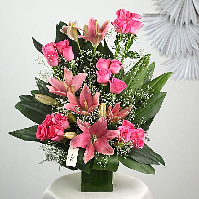 Pink Flowers Vase Arrangement: Lilies