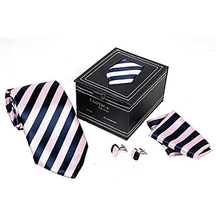 Pink N Navy Blue Tie Set: Ties and Cufflinks