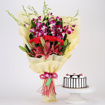 Pink & Purple Flowers & Black Forest Cake Combo: Lilies
