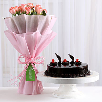 Pink Roses with Cake: Cakes for Birthday