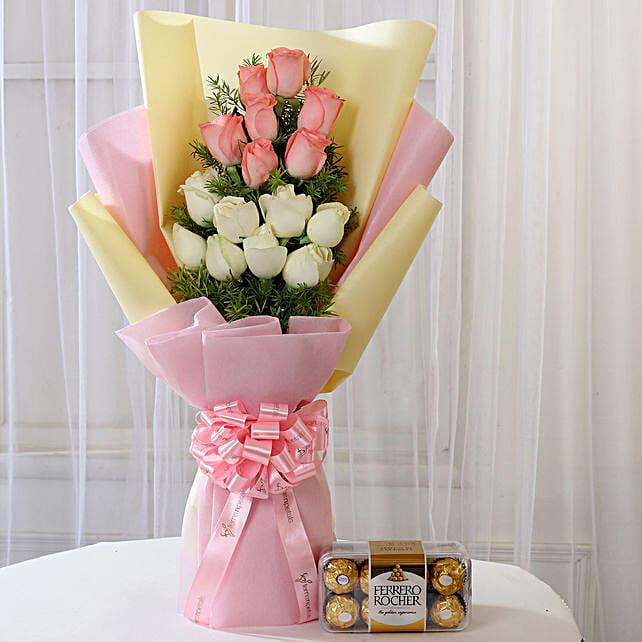 Pink & White Roses & Ferrero Rocher Box: Ferrero Rocher Chocolates