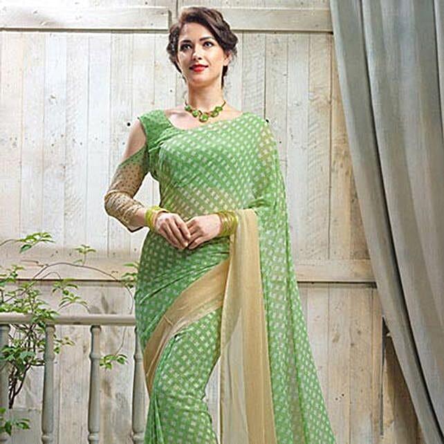 Polka Dots Green Saree: Saree Gifts