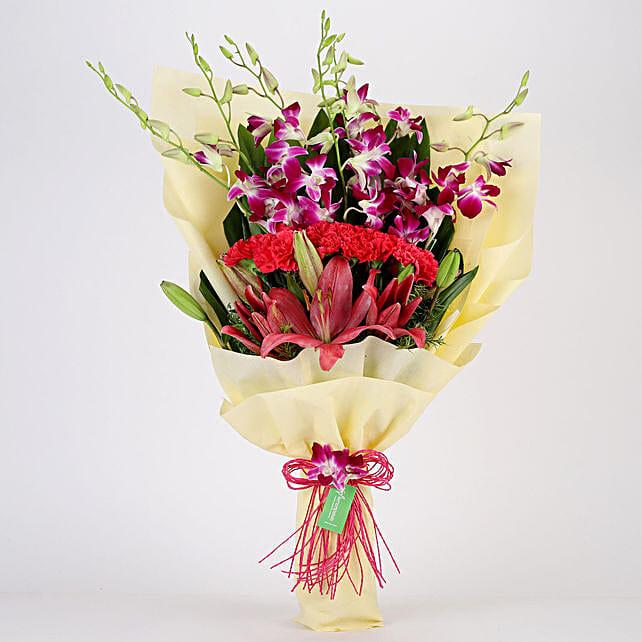 Posy Of Pink & Purple Flowers: Lilies