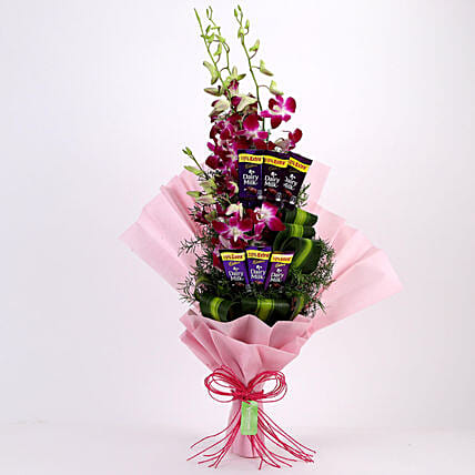 Posy of Purple Orchids & Dairy Milk: