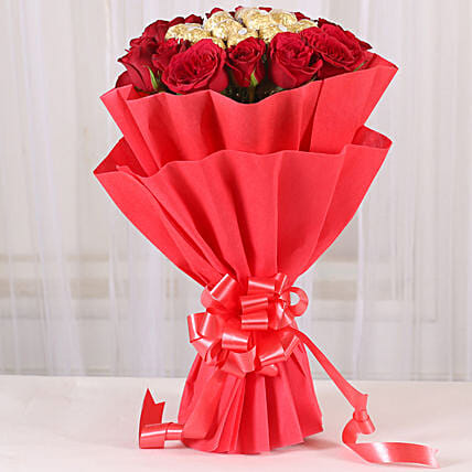 Premium Rocher Bouquet: Flowers with Chocolates