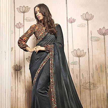Printed Grey Casual Wear Saree: