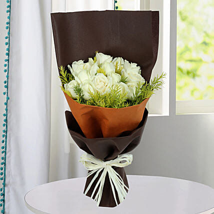 Pure White Roses Bunch: White Flowers